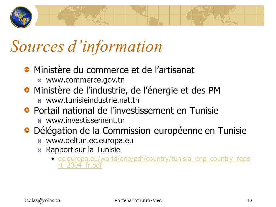 bcolas@colas.caPartenariat Euro-Med13 Sources dinformation Ministère du commerce et de lartisanat www.commerce.gov.tn Ministère de lindustrie, de léne