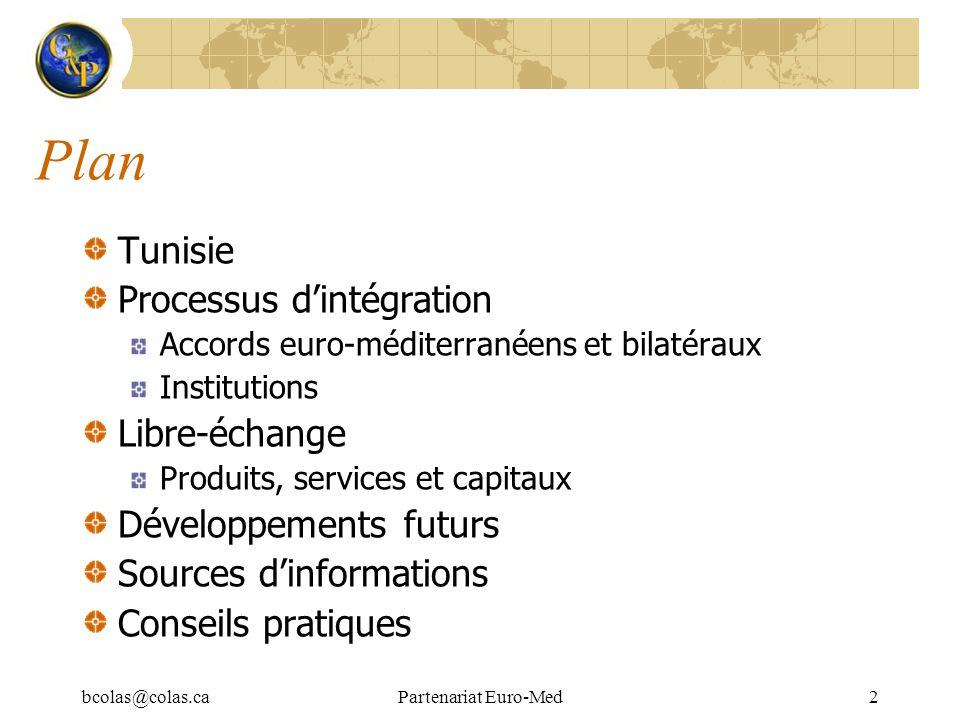 bcolas@colas.caPartenariat Euro-Med2 Plan Tunisie Processus dintégration Accords euro-méditerranéens et bilatéraux Institutions Libre-échange Produits