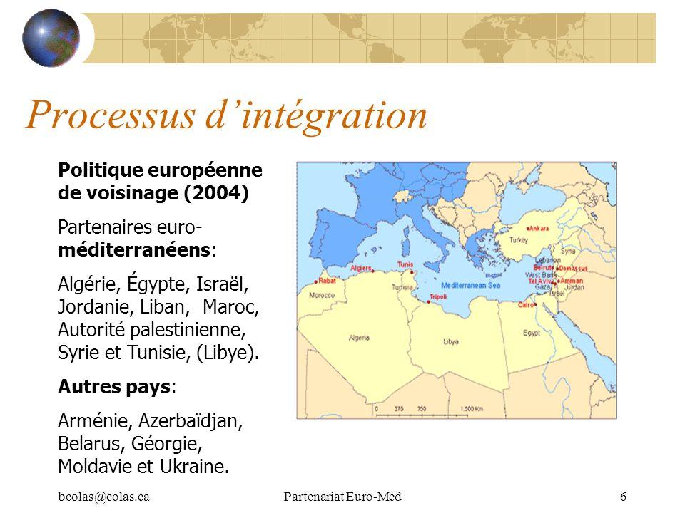 bcolas@colas.caPartenariat Euro-Med7 Processus dintégration: Institutions Conférence euro-méditerranéenne (18 mois) 8 ème Conférence ministérielle de Tampere (novembre 2006) Conférences ministérielles sectorielles Assemblée parlementaire euro-méditerranéenne Réunions trimestrielles de hauts fonctionnaires Associations : Pacte Euro-Med Conseil de lAssociation Comité dAssociation 10 Sous-comités sectoriels (1/an) Réunions informelles Programmes/initiatives