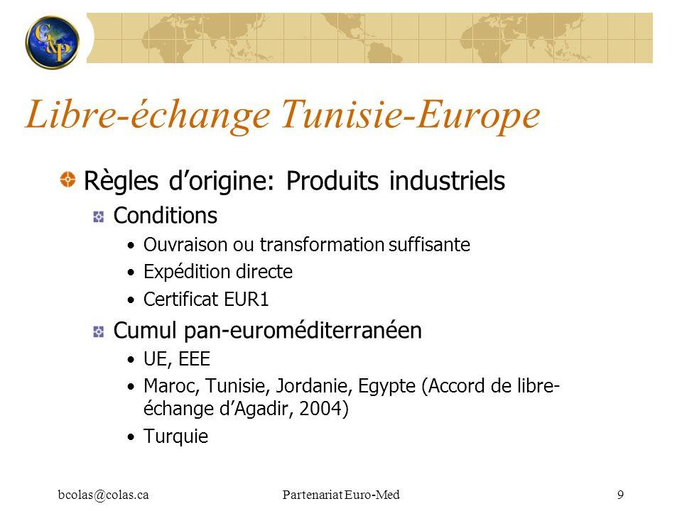 bcolas@colas.caPartenariat Euro-Med9 Libre-échange Tunisie-Europe Règles dorigine: Produits industriels Conditions Ouvraison ou transformation suffisa