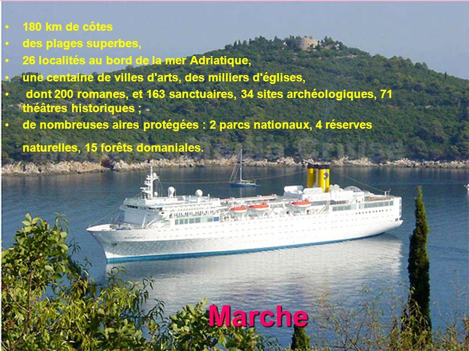 Marche 180 km de côtes des plages superbes, 26 localités au bord de la mer Adriatique, une centaine de villes d'arts, des milliers d'églises, dont 200