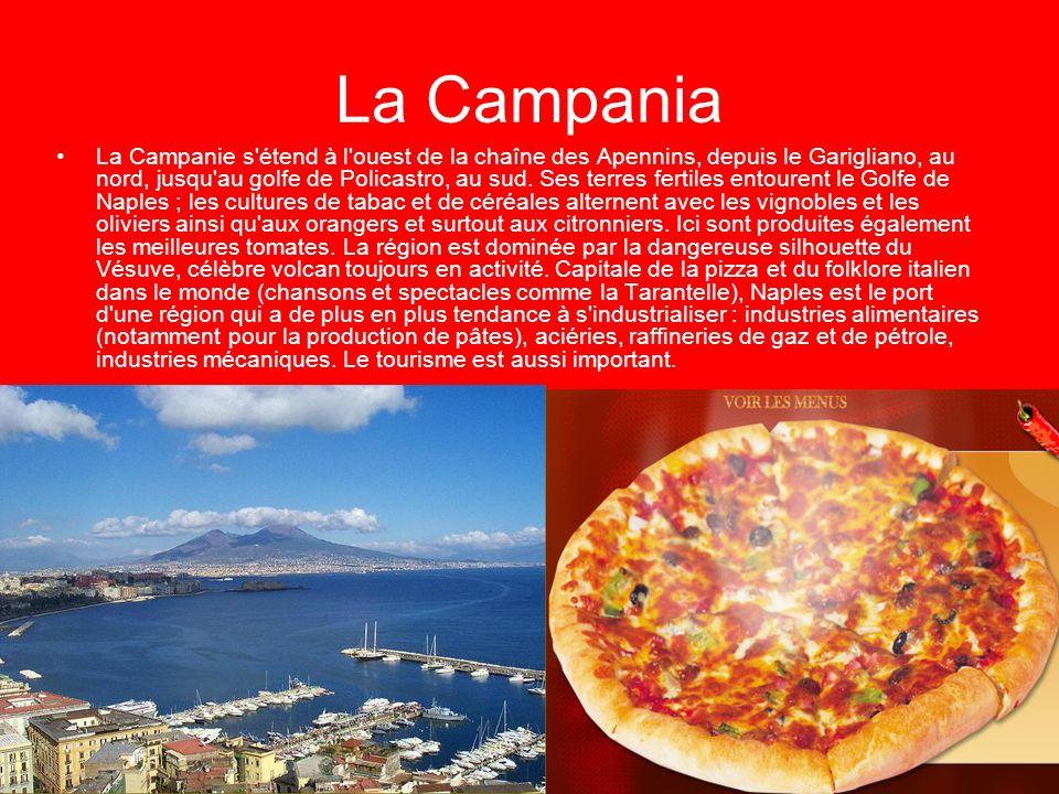 La Campania La Campanie s'étend à l'ouest de la chaîne des Apennins, depuis le Garigliano, au nord, jusqu'au golfe de Policastro, au sud. Ses terres f