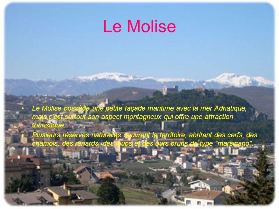 Le Molise Le Molise possède une petite façade maritime avec la mer Adriatique, mais c'est surtout son aspect montagneux qui offre une attraction touri