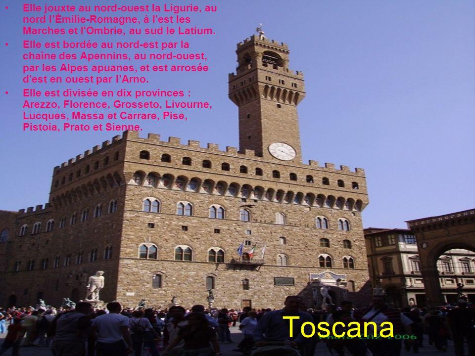 Toscana Elle jouxte au nord-ouest la Ligurie, au nord lÉmilie-Romagne, à l'est les Marches et l'Ombrie, au sud le Latium. Elle est bordée au nord-est