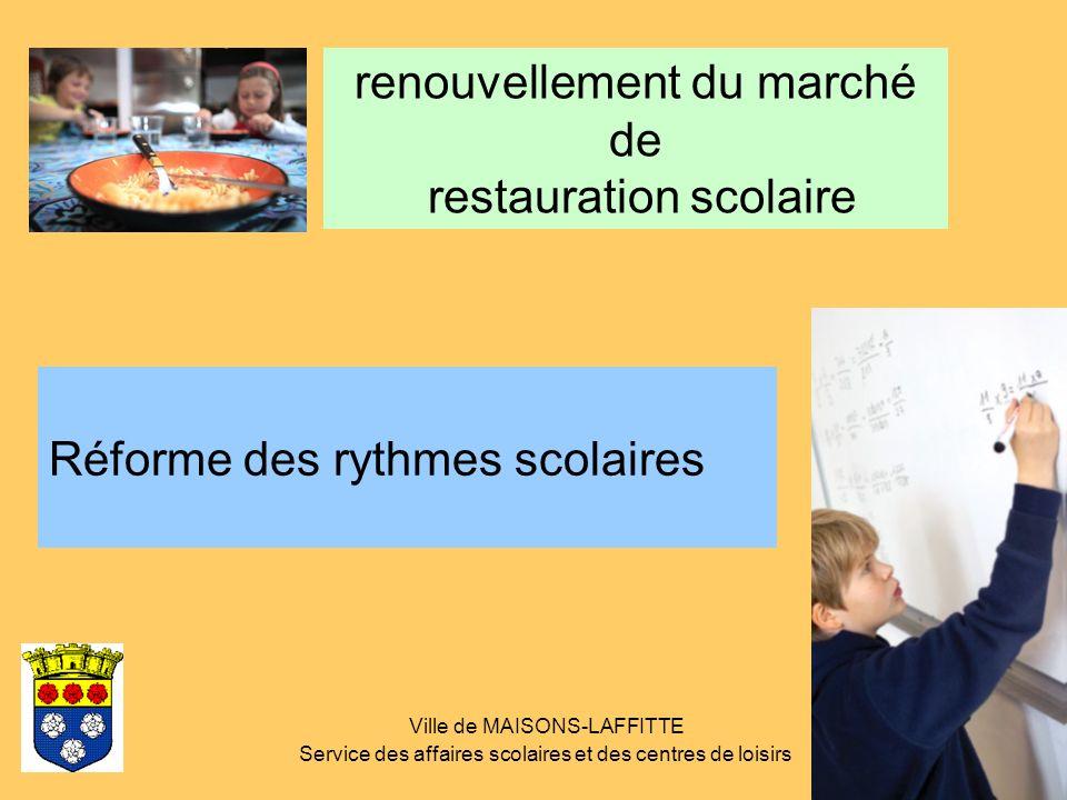 Ville de MAISONS-LAFFITTE Service des affaires scolaires et des centres de loisirs renouvellement du marché de restauration scolaire Réforme des rythm