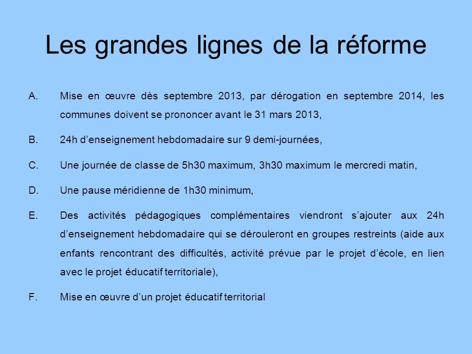 Les grandes lignes de la réforme A.Mise en œuvre dès septembre 2013, par dérogation en septembre 2014, les communes doivent se prononcer avant le 31 m