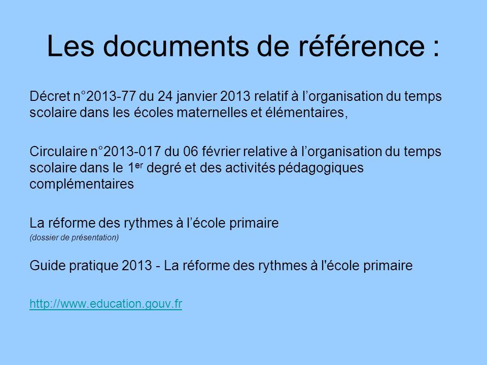 Les documents de référence : Décret n°2013-77 du 24 janvier 2013 relatif à lorganisation du temps scolaire dans les écoles maternelles et élémentaires