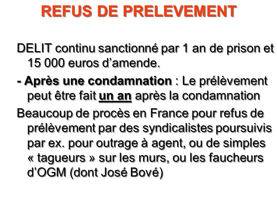 REFUS DE PRELEVEMENT DELIT continu sanctionné par 1 an de prison et 15 000 euros damende. - Après une condamnation : Le prélèvement peut être fait un