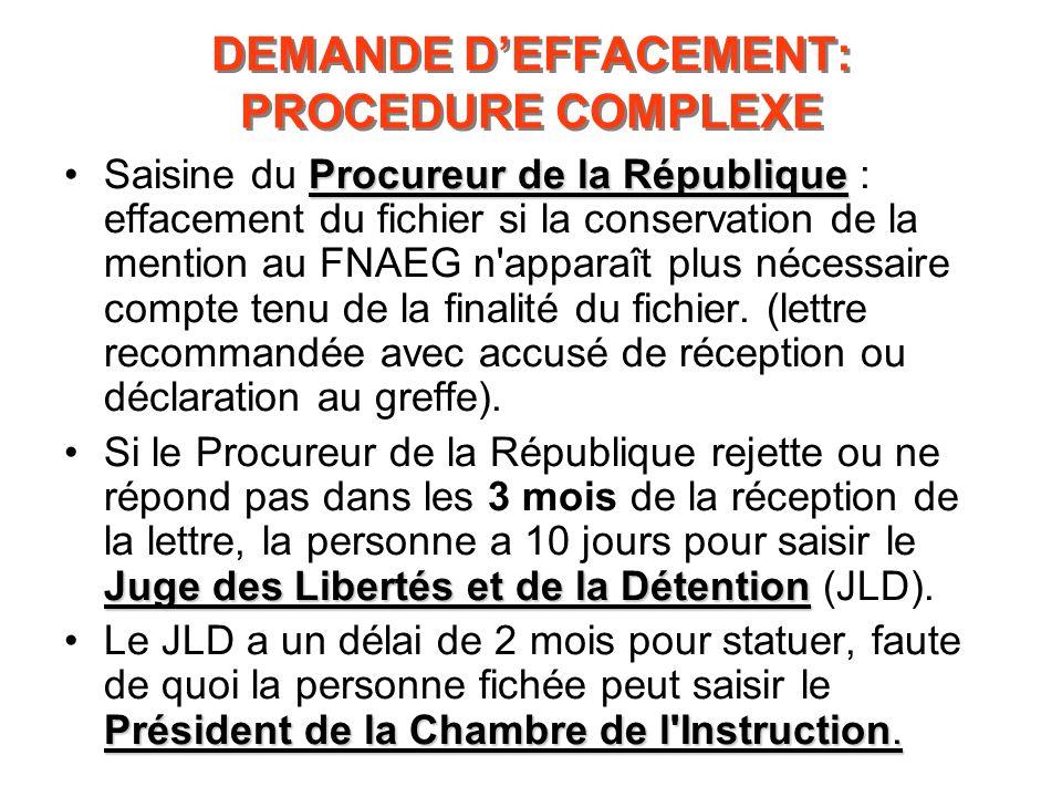 DEMANDE DEFFACEMENT: PROCEDURE COMPLEXE Procureur de la RépubliqueSaisine du Procureur de la République : effacement du fichier si la conservation de