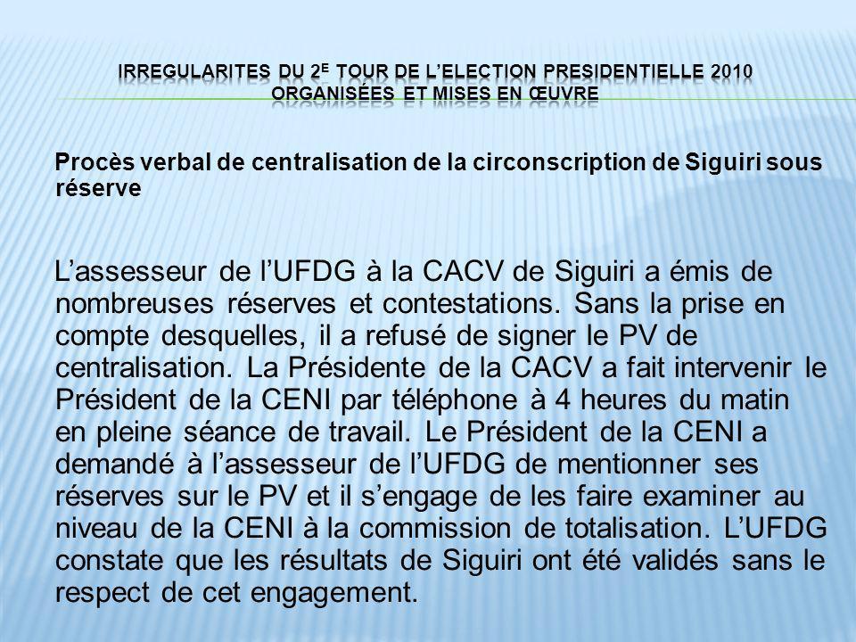 Procès verbal de centralisation de la circonscription de Siguiri sous réserve Lassesseur de lUFDG à la CACV de Siguiri a émis de nombreuses réserves e