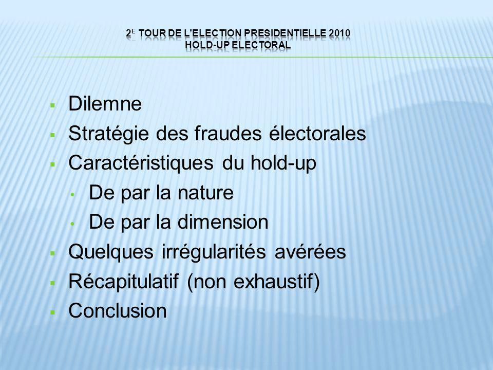 Dilemne Stratégie des fraudes électorales Caractéristiques du hold-up De par la nature De par la dimension Quelques irrégularités avérées Récapitulati