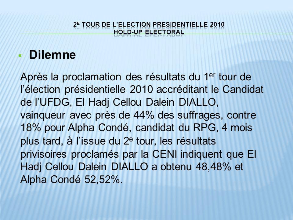 Dilemne Après la proclamation des résultats du 1 er tour de lélection présidentielle 2010 accréditant le Candidat de lUFDG, El Hadj Cellou Dalein DIAL