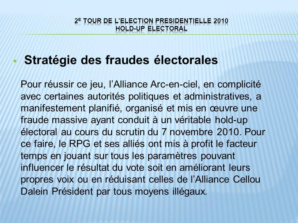 Stratégie des fraudes électorales Pour réussir ce jeu, lAlliance Arc-en-ciel, en complicité avec certaines autorités politiques et administratives, a