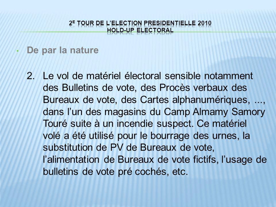 De par la nature 2.Le vol de matériel électoral sensible notamment des Bulletins de vote, des Procès verbaux des Bureaux de vote, des Cartes alphanumé