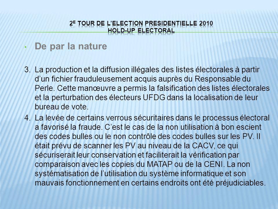 De par la nature 3.La production et la diffusion illégales des listes électorales à partir dun fichier frauduleusement acquis auprès du Responsable du