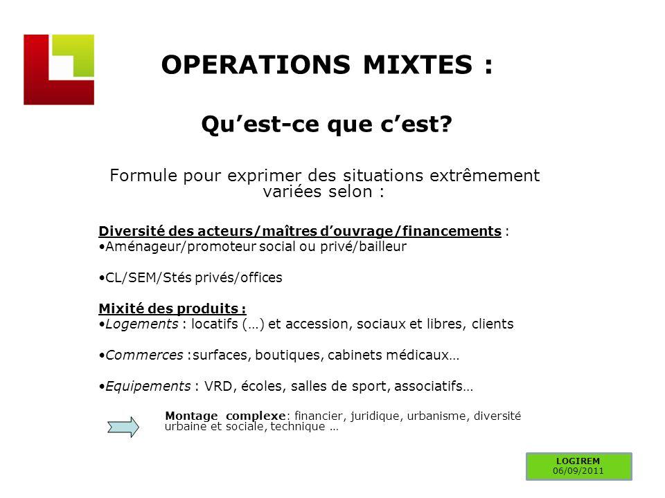 OPERATIONS MIXTES : Quest-ce que cest? Formule pour exprimer des situations extrêmement variées selon : Diversité des acteurs/maîtres douvrage/finance