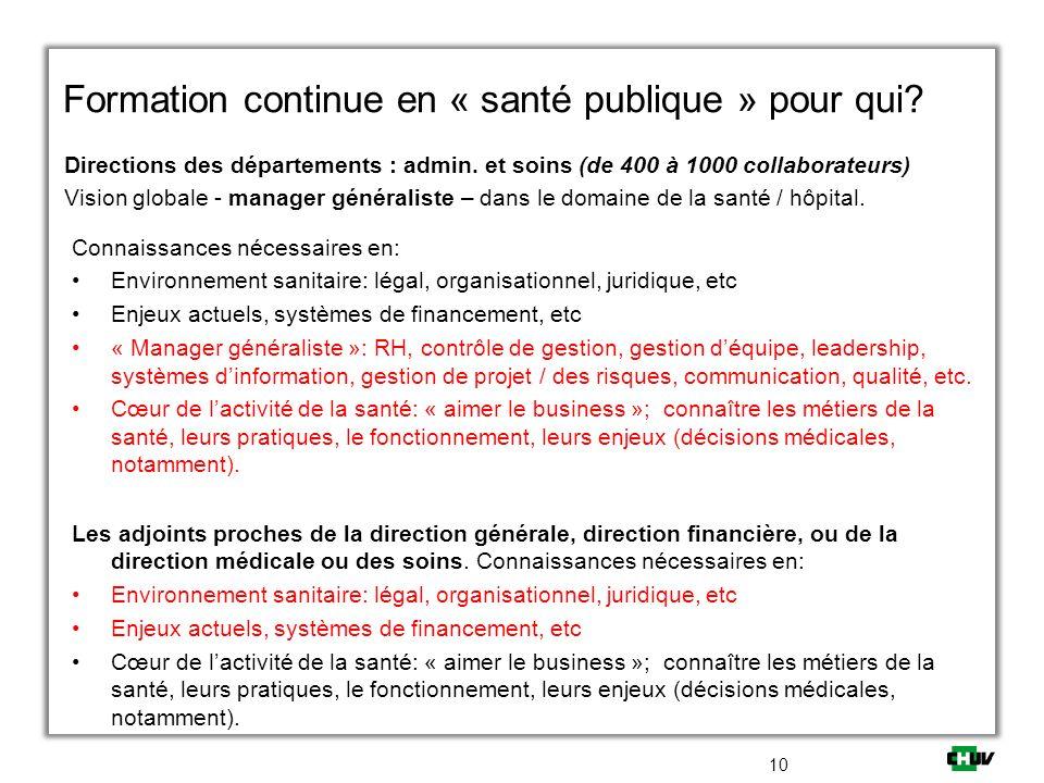 Formation continue en « santé publique » pour qui? Directions des départements : admin. et soins (de 400 à 1000 collaborateurs) Vision globale - manag