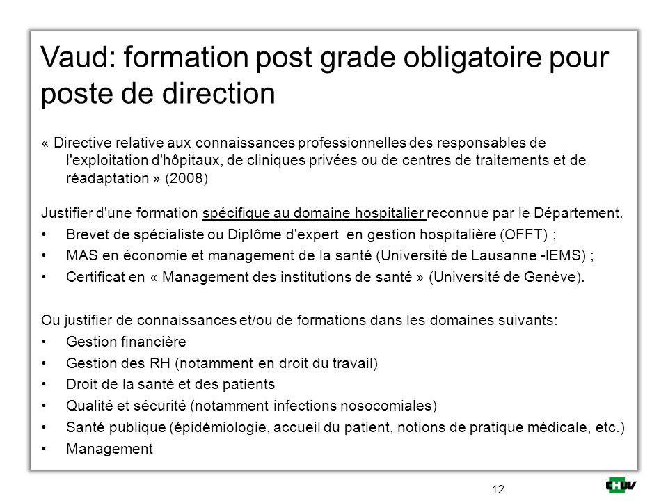 Vaud: formation post grade obligatoire pour poste de direction Ou justifier de connaissances et/ou de formations dans les domaines suivants: Gestion f
