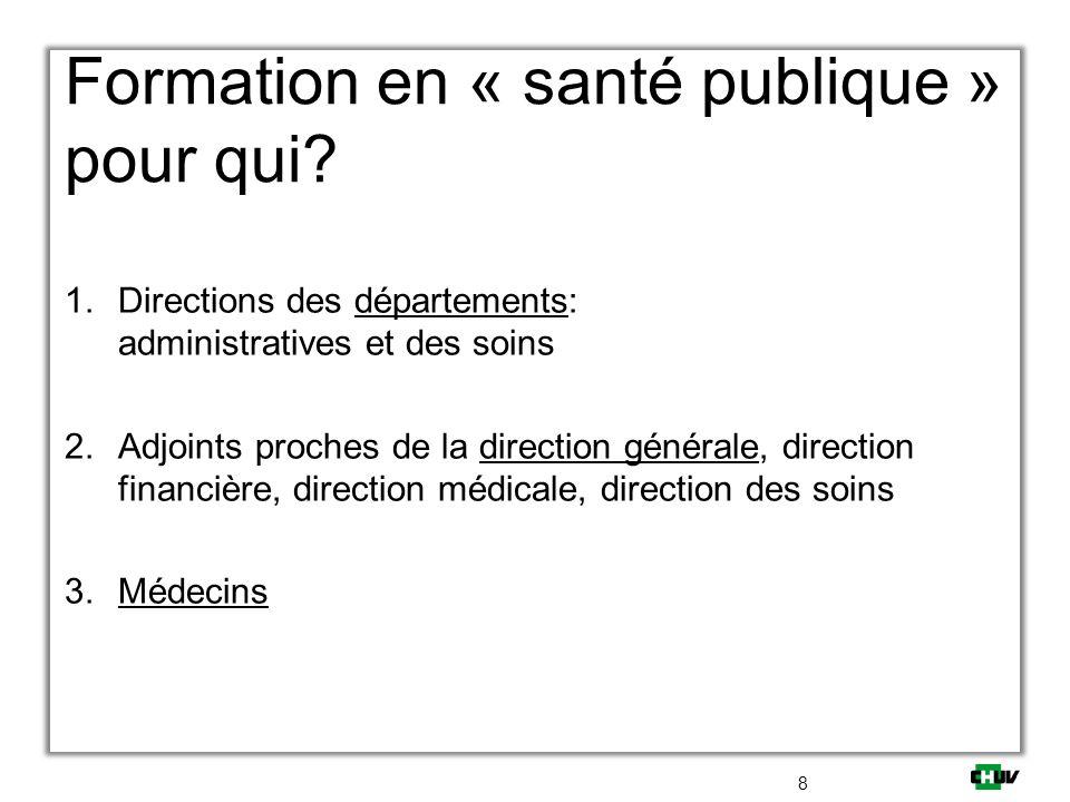 Formation en « santé publique » pour qui? 1.Directions des départements: administratives et des soins 2.Adjoints proches de la direction générale, dir