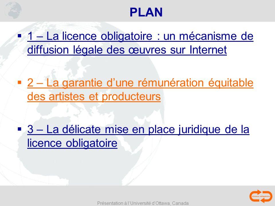 Présentation à lUniversité dOttawa, Canada PLAN 1 – La licence obligatoire : un mécanisme de diffusion légale des œuvres sur Internet 2 – La garantie