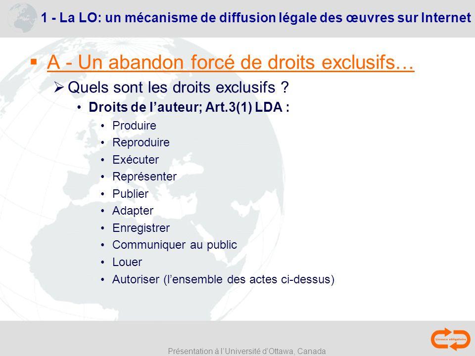 Présentation à lUniversité dOttawa, Canada 1 - La LO: un mécanisme de diffusion légale des œuvres sur Internet A - Un abandon forcé de droits exclusif