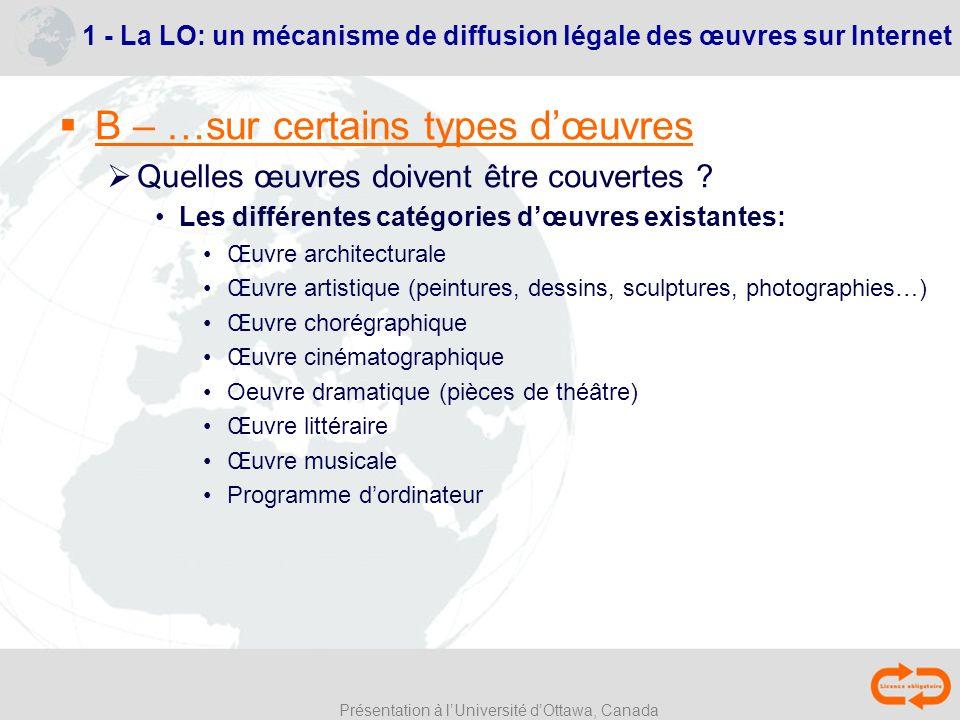 Présentation à lUniversité dOttawa, Canada 1 - La LO: un mécanisme de diffusion légale des œuvres sur Internet B – …sur certains types dœuvres Quelles