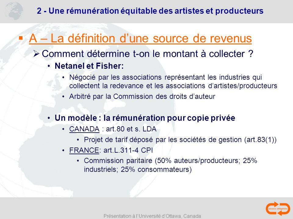 Présentation à lUniversité dOttawa, Canada 2 - Une rémunération équitable des artistes et producteurs A – La définition dune source de revenus Comment