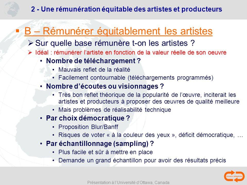 Présentation à lUniversité dOttawa, Canada B – Rémunérer équitablement les artistes Sur quelle base rémunère t-on les artistes ? Idéal : rémunérer lar