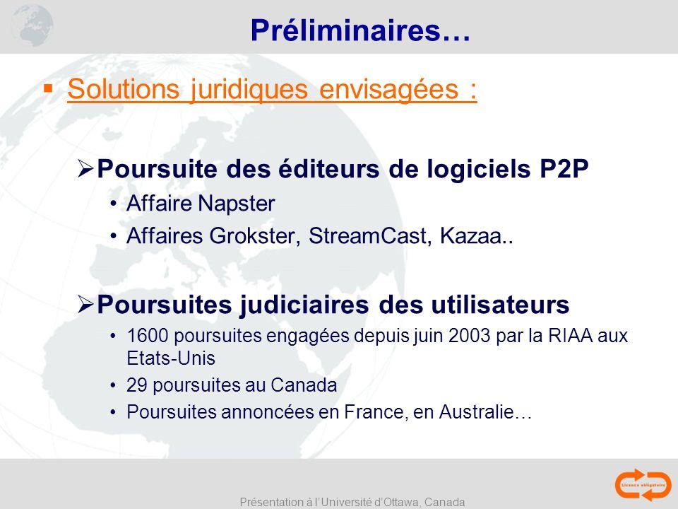 Présentation à lUniversité dOttawa, Canada Préliminaires… Solutions juridiques envisagées : Poursuite des éditeurs de logiciels P2P Affaire Napster Af