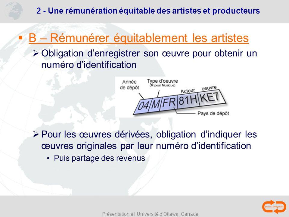 Présentation à lUniversité dOttawa, Canada B – Rémunérer équitablement les artistes Obligation denregistrer son œuvre pour obtenir un numéro didentifi