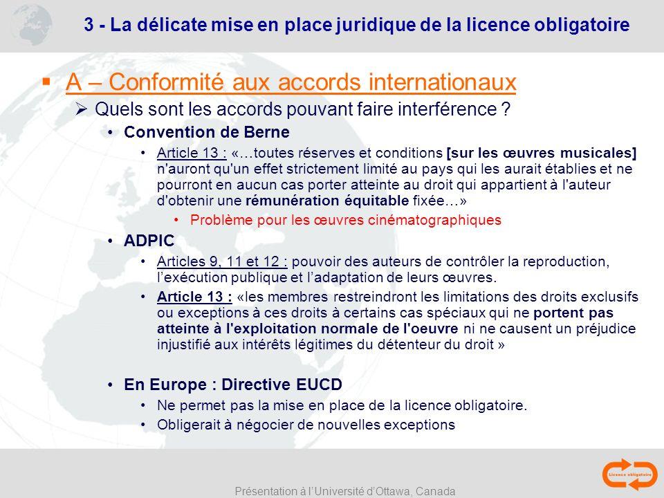 Présentation à lUniversité dOttawa, Canada 3 - La délicate mise en place juridique de la licence obligatoire A – Conformité aux accords internationaux
