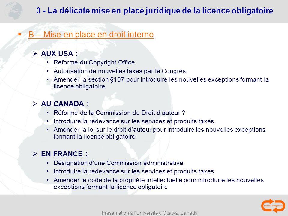 Présentation à lUniversité dOttawa, Canada B – Mise en place en droit interne AUX USA : Réforme du Copyright Office Autorisation de nouvelles taxes pa