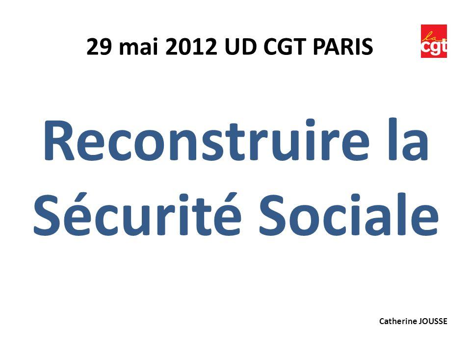 Reconstruire la Sécurité Sociale 29 mai 2012 UD CGT PARIS Catherine JOUSSE