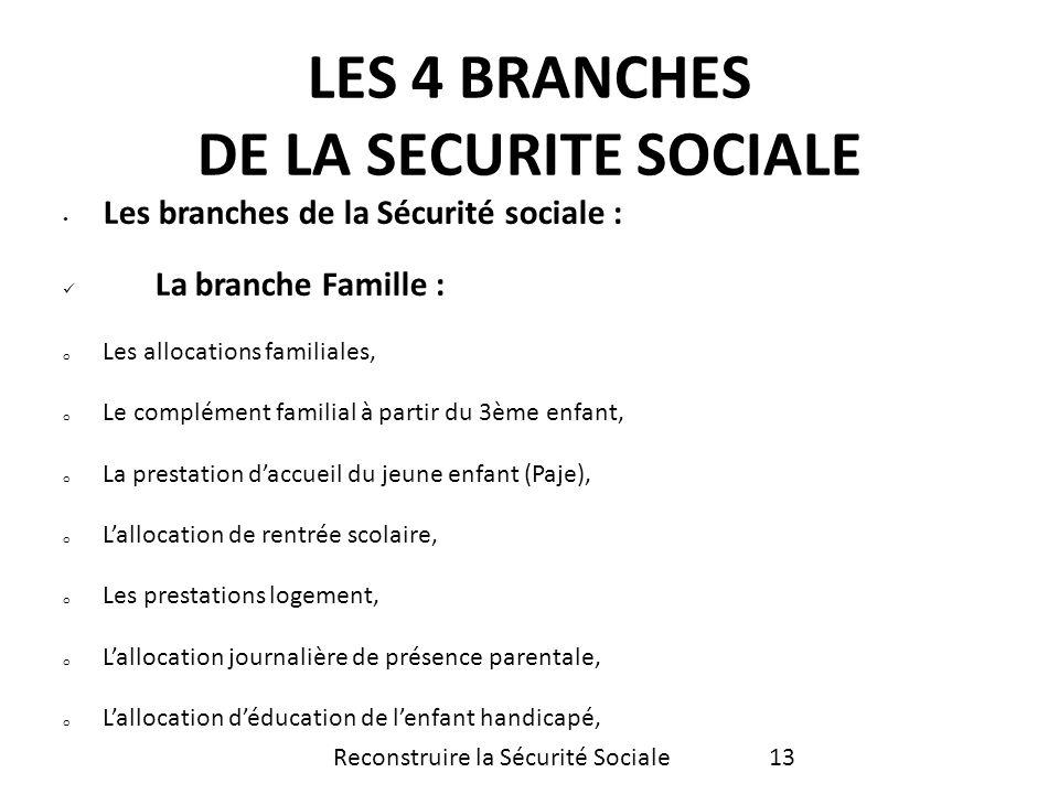 Les branches de la Sécurité sociale : La branche Famille : o Les allocations familiales, o Le complément familial à partir du 3ème enfant, o La presta
