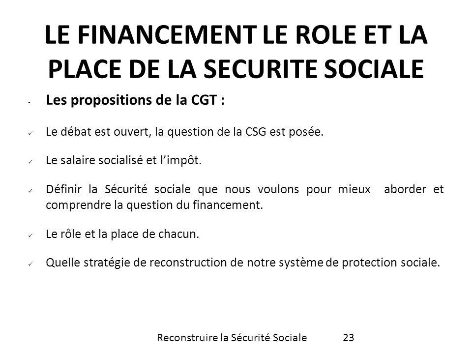 Les propositions de la CGT : Le débat est ouvert, la question de la CSG est posée. Le salaire socialisé et limpôt. Définir la Sécurité sociale que nou