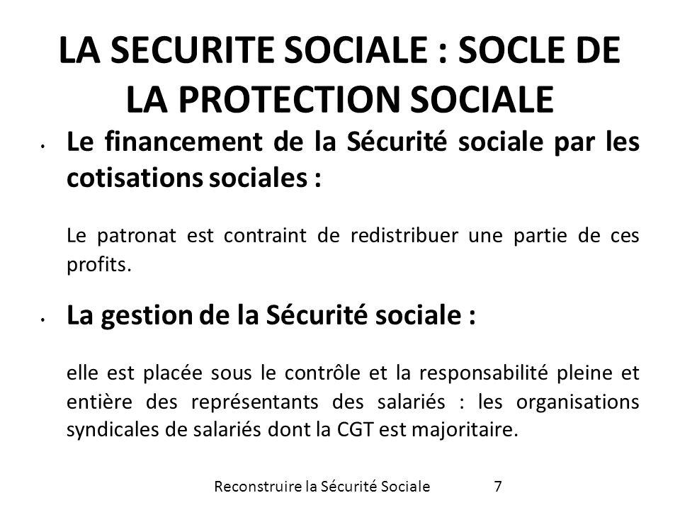Son organisation : lunicité de la Sécurité sociale Elle concerne les risques maladie, maternité, invalidité, vieillesse, décès.