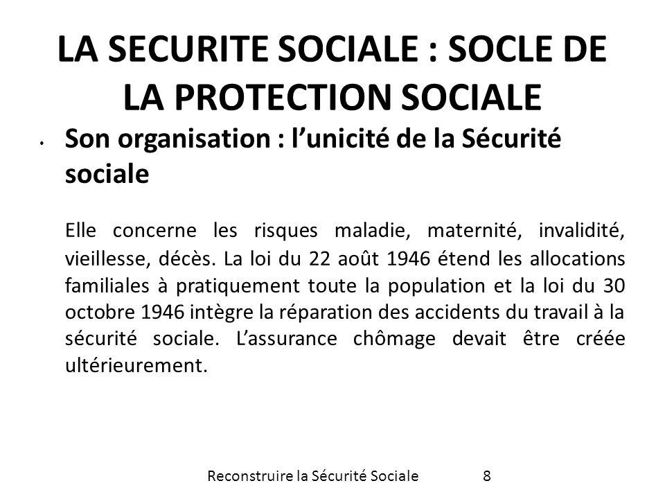 Son organisation : lunicité de la Sécurité sociale Elle concerne les risques maladie, maternité, invalidité, vieillesse, décès. La loi du 22 août 1946