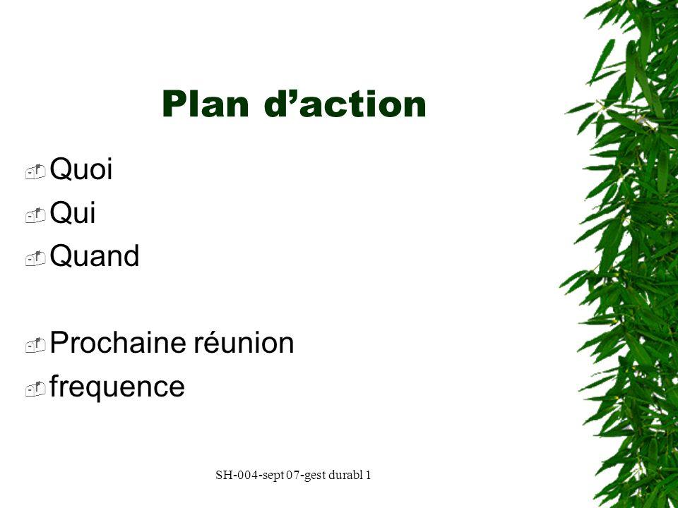 SH-004-sept 07-gest durabl 1 Plan daction Quoi Qui Quand Prochaine réunion frequence