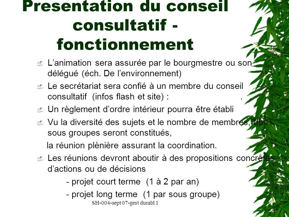 SH-004-sept 07-gest durabl 1 Presentation du conseil consultatif - fonctionnement Lanimation sera assurée par le bourgmestre ou son délégué (éch. De l