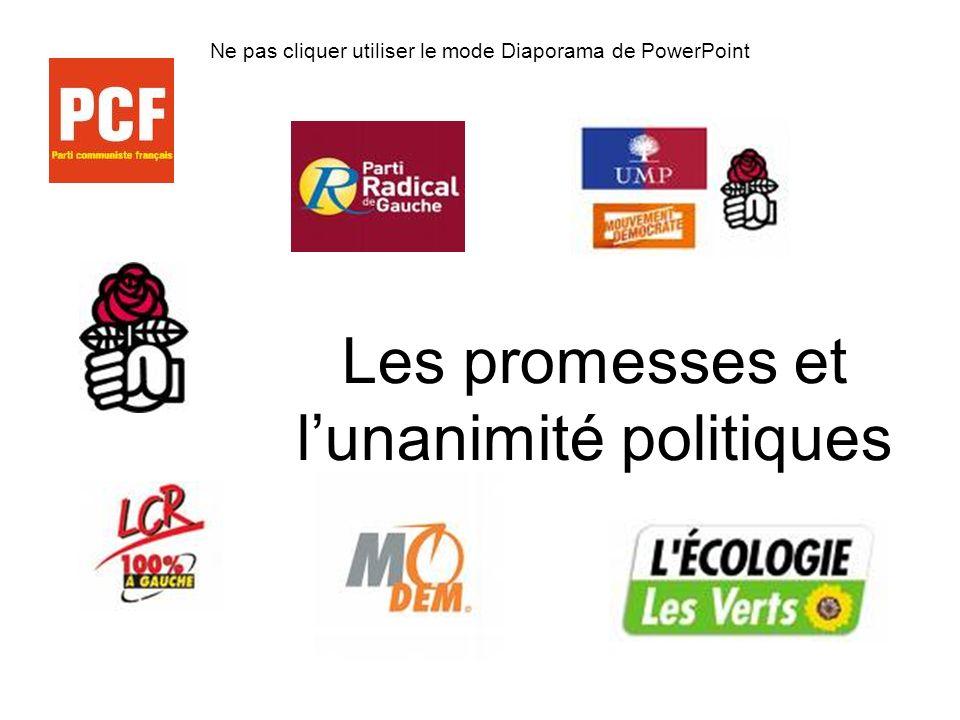 Ne pas cliquer utiliser le mode Diaporama de PowerPoint Les promesses et lunanimité politiques