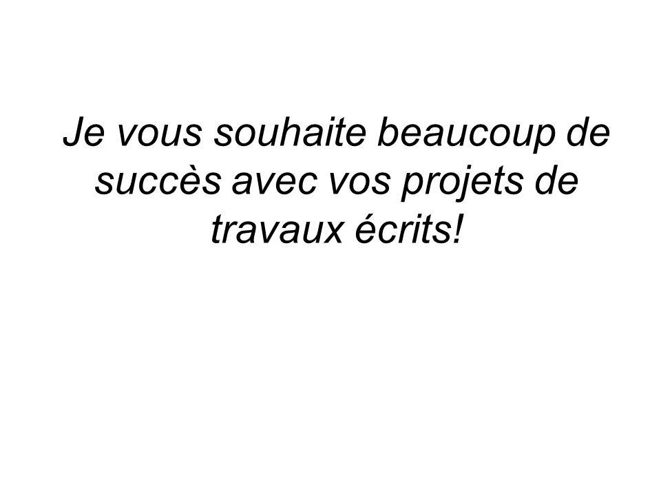 Je vous souhaite beaucoup de succès avec vos projets de travaux écrits!