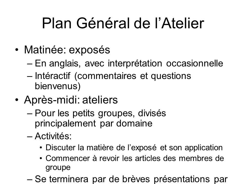 Plan Général de lAtelier Matinée: exposés –En anglais, avec interprétation occasionnelle –Intéractif (commentaires et questions bienvenus) Après-midi: