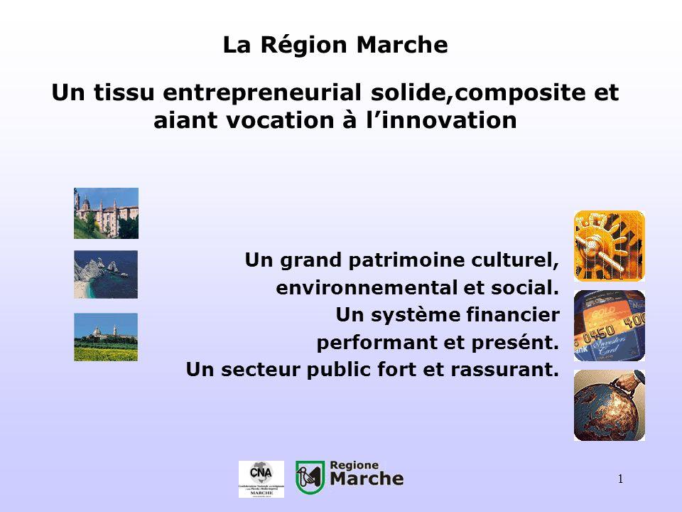 1 La Région Marche Un tissu entrepreneurial solide,composite et aiant vocation à linnovation Un grand patrimoine culturel, environnemental et social.