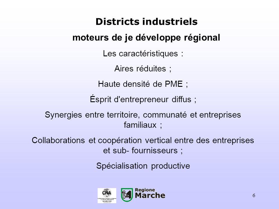 6 Districts industriels moteurs de je développe régional Les caractéristiques : Aires réduites ; Haute densité de PME ; Ésprit d'entrepreneur diffus ;