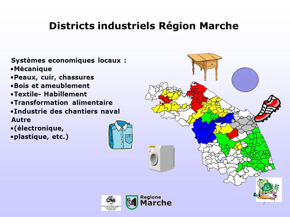 7 Districts industriels Région Marche Systèmes economiques locaux : Mécanique Peaux, cuir, chassures Bois et ameublement Textile- Habillement Transfor