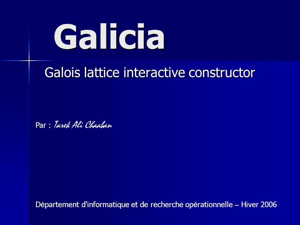 Galicia Galois lattice interactive constructor Par : Tarek Ali Chaaban D é partement d'informatique et de recherche op é rationnelle – Hiver 2006