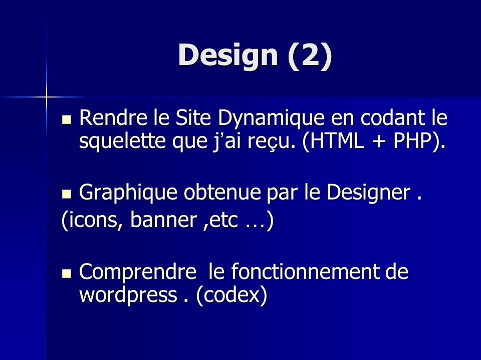 Design (2) Rendre le Site Dynamique en codant le squelette que j ai re ç u. (HTML + PHP). Rendre le Site Dynamique en codant le squelette que j ai re