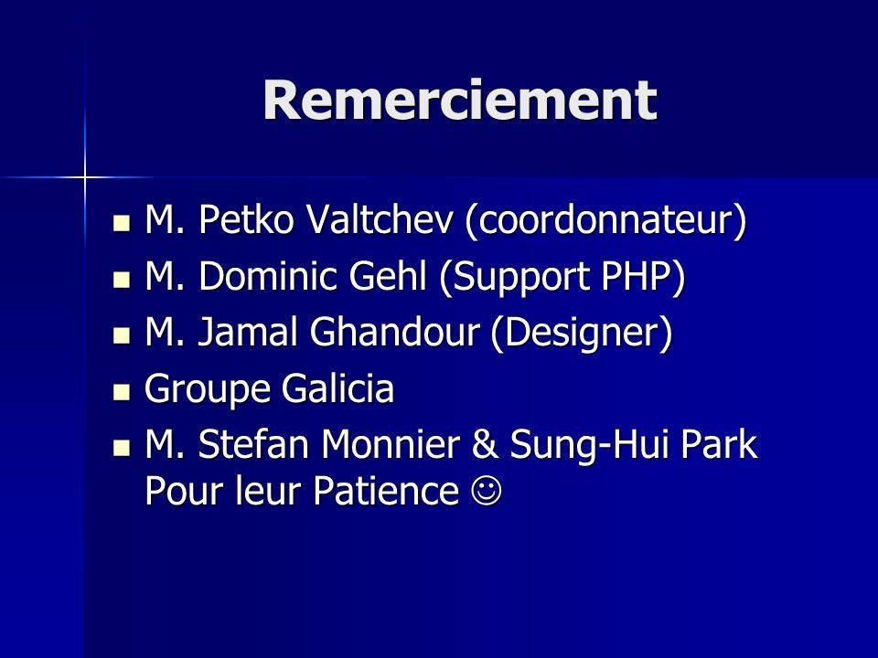 Remerciement M. Petko Valtchev (coordonnateur) M. Petko Valtchev (coordonnateur) M. Dominic Gehl (Support PHP) M. Dominic Gehl (Support PHP) M. Jamal