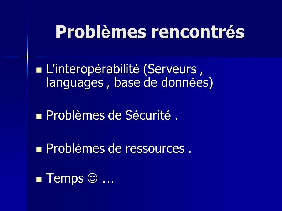 Probl è mes rencontr é s L'interop é rabilit é (Serveurs, languages, base de donn é es) L'interop é rabilit é (Serveurs, languages, base de donn é es)