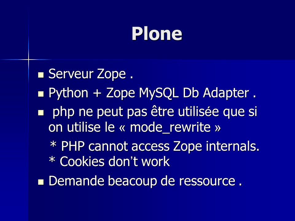 Plone Serveur Zope. Serveur Zope. Python + Zope MySQL Db Adapter. Python + Zope MySQL Db Adapter. php ne peut pas être utilis é e que si on utilise le